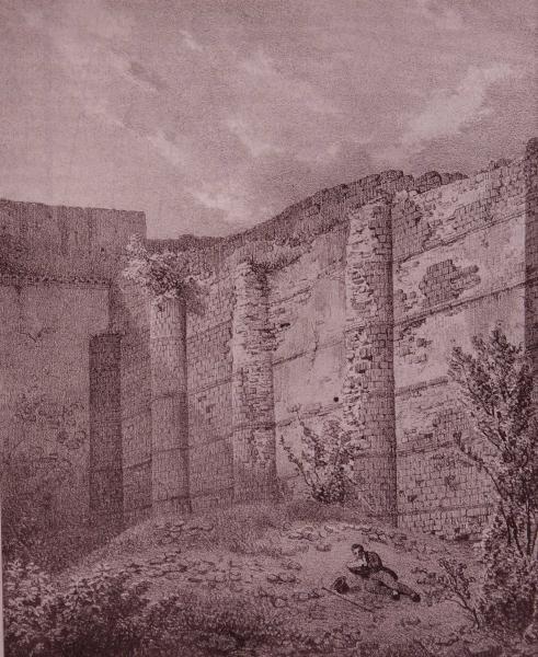 Le Chateau des Salles et le Mur des Sarrasins (Litographie du XVIIIe)