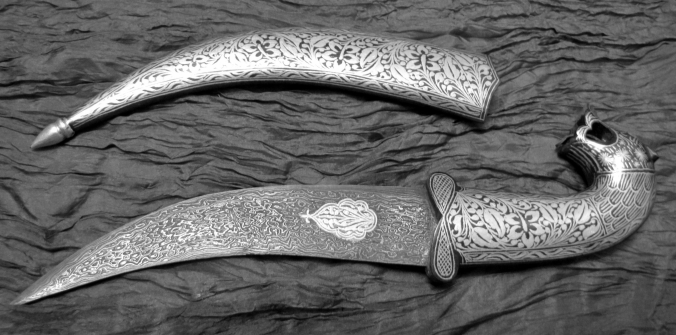 Une dague faite à base de Wootz, aussi nommé acier de Damas