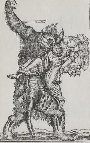 Une gravure représentant un loup garou