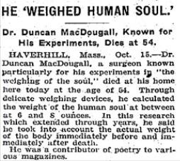 """L'article du NY Times sur la mort de MacDougall : """"Il avait pesé l'âme humaine"""""""
