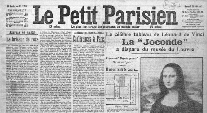 La une du Petit Parisien, le lendemain de la découverte de la disparition (GallicaBNF)
